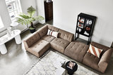 HKliving vint couch element left corduroy rib brown