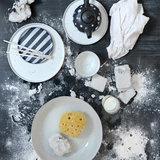 HK Living keramieken dessert bord zwart/wit gestreept sfeer
