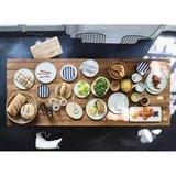 HK Living keramieken dessert bord zwart/wit gestreept op tafel