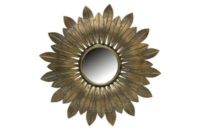 Woood Confess spiegel metaal antique brass ø32cm