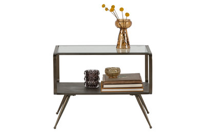 BePureHome Fancy bijzettafel metaal/glas antique brass