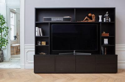WOOOD exclusive Maxel tv wandmeubel grenen diep zwart