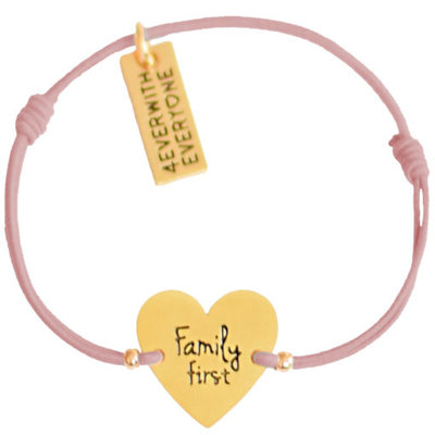 4everwitheveryone armbandje: family first oud roze