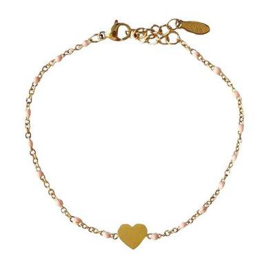 4everwitheveryone armbandje: stainless steel hartje roze/goud