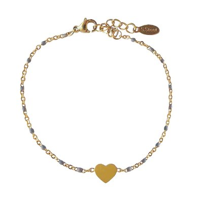 4everwitheveryone armbandje: stainless steel hartje grijs/goud