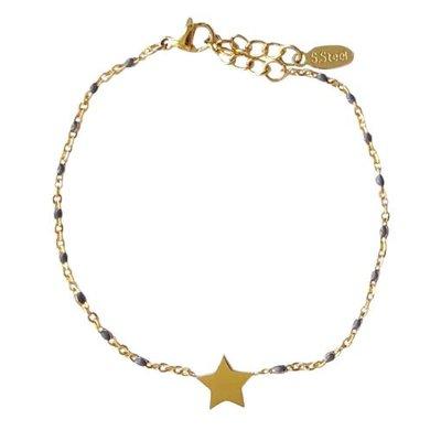 4everwitheveryone armbandje: stainless steel ster grijs/goud