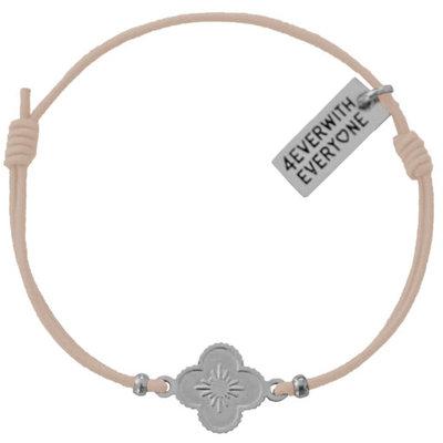 4everwitheveryone armbandje:Bloemetje Beige & Zilver