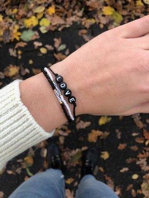 Jewelz By Joya armbanden setje van 3 Love ♥ zwart wit