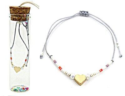 Jewelz by Joya armband Gift in glazen fles met kurk grijs harts