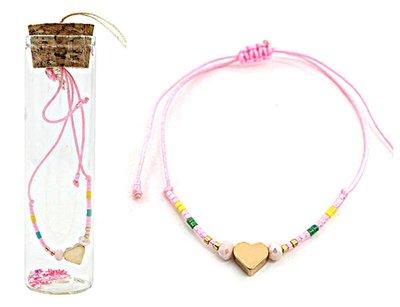 Jewelz by Joya armband Gift in glazen fles met kurk roze harts