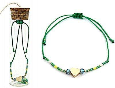 Jewelz by Joya armband Gift in glazen fles met kurk green harts