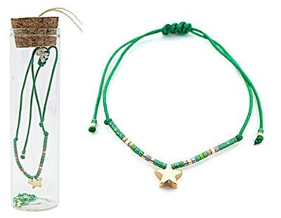 Jewelz by Joya armband Gift in glazen fles met kurk green star