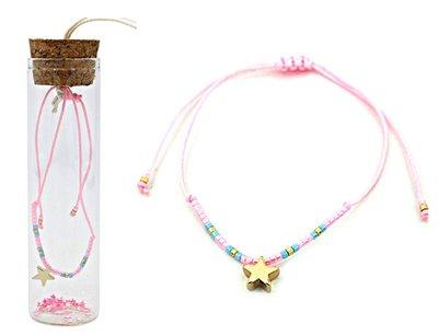 Jewelz by Joya armband Gift in glazen fles met kurk roze star