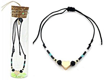 Jewelz by Joya armband Gift in glazen fles met kurk black hart