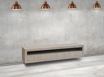 Maatwerk TV meubel Helder 3 laden 1 open vak met hangsysteem