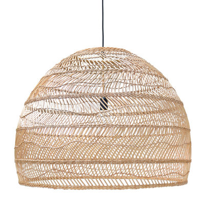HKliving wicker hanging lamp ball natural l