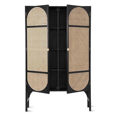 HKliving retro webbing cabinet black with shelves