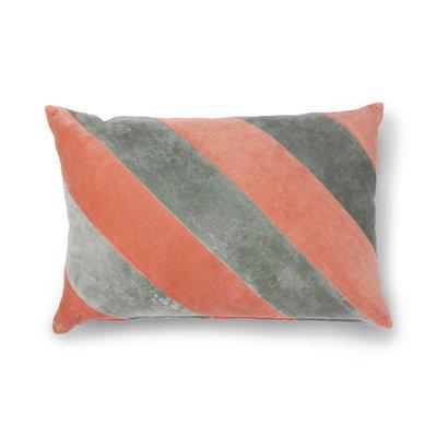 HKliving striped cushion velvet grey nude