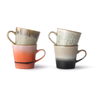 HKliving Ceramic 70's americano mugs (set of 4)