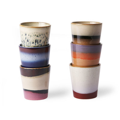 HKliving 70s ceramics: coffee mugs (set of 6)