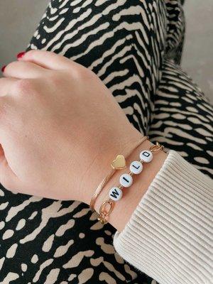 Jewelz By Joya  tekst armbandje zilver of goud