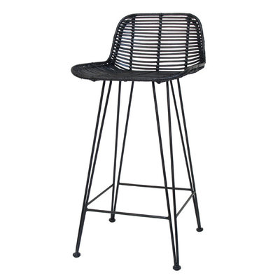 HKLiving rattan bar stool black