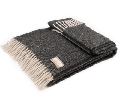 Manifattura Lombarda plaid – Zwart- Fishbone