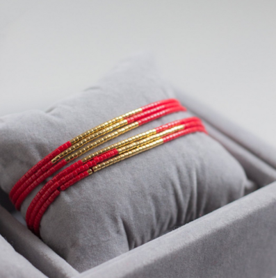 Jaylaa Jewelry - Basic red/gold armbandje