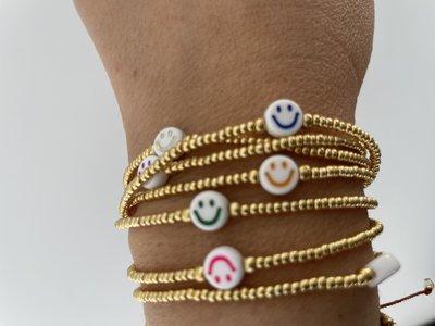 Jewelz By Joya golden Smiley elastisch armbandje handmade