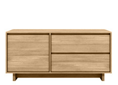 Ethnicraft: Oak Wave Tv Cupboard 1 flip door/ 1 drawer