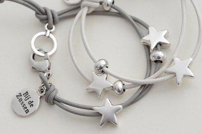 Armband leren koord met sterren