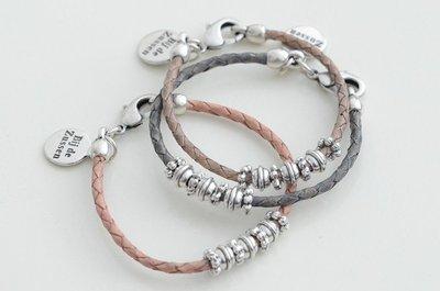 Armband leren koord perth braided met kralen