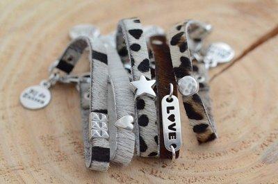 Armband plat leer vacht