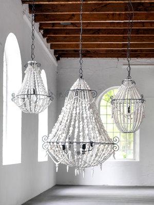 Bodilson Royal hanglamp wit houten kralen/metaal