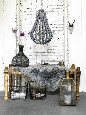 Bodilson King hanglamp grijs houten kralen/metaal