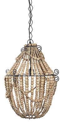 Bodilson Queen hanglamp naturel houten kralen/metaal