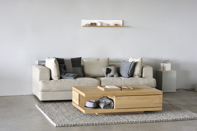 Ethnicraft : Flat coffee table 2 drawers