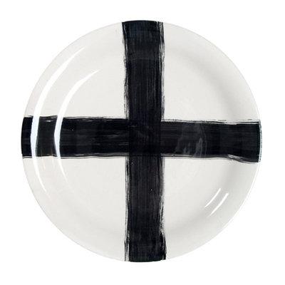 HK Living Handgemaakte keramieken serveerbord met handgeschilderd kruis