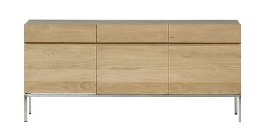 Ethnicraft Ligna oak sideboard stainless steel 3 drawers