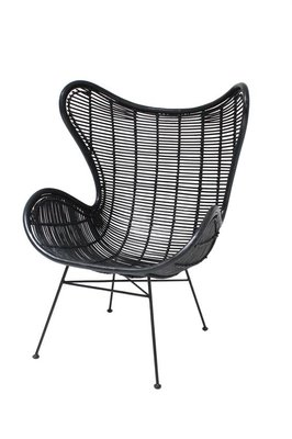 HK Living Rotan Egg chair black