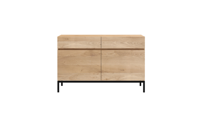 Ethnicraft oak Ligna black sideboard 2 doors 2 drawers