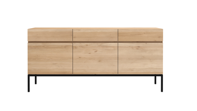 Ethnicraft oak Ligna black sideboard 3 doors 3 drawers