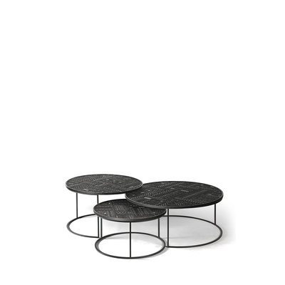 Ethnicraft Ancestors Tabwa round coffee table set of 3