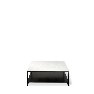 Anders stone coffee table carrara marble 2 shelves vierkant