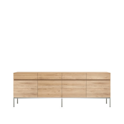 Ethnicraft Ligna oak sideboard stainless steel 4 drawers