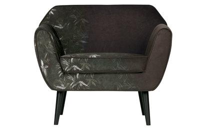 Woood Rocco arm chair fluweel bamboe print