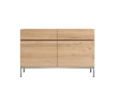 Ethnicraft oak Ligna sideboard stainless steel 2 drawers