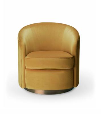 Ethnicraft Swivel armchair gold velvet