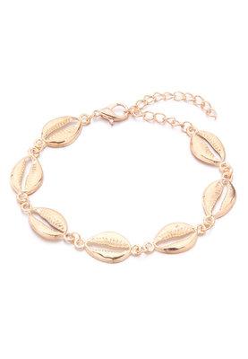 Joyjewelleryy enkelbandje met schelpen goudkleur