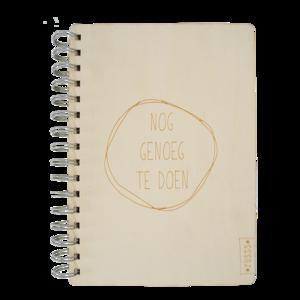Zusss notitieboek hout genoeg te doen